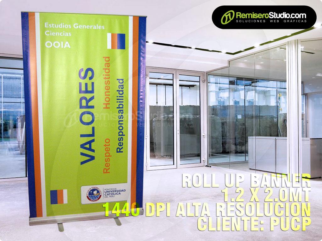 Valores: Roll up Banner Screen 1.2 x 2 metros Cliente: PUCP Pontificia Universidad Católica del Perú