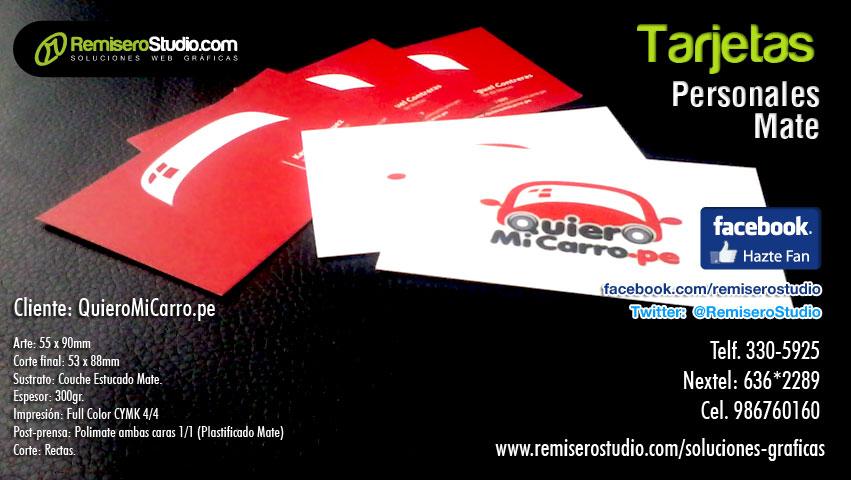Impresión de Tarjetas Personales en Mate Full Color ambas Caras (Plastificado Mate) Cliente: QuieroMiCarro.pe