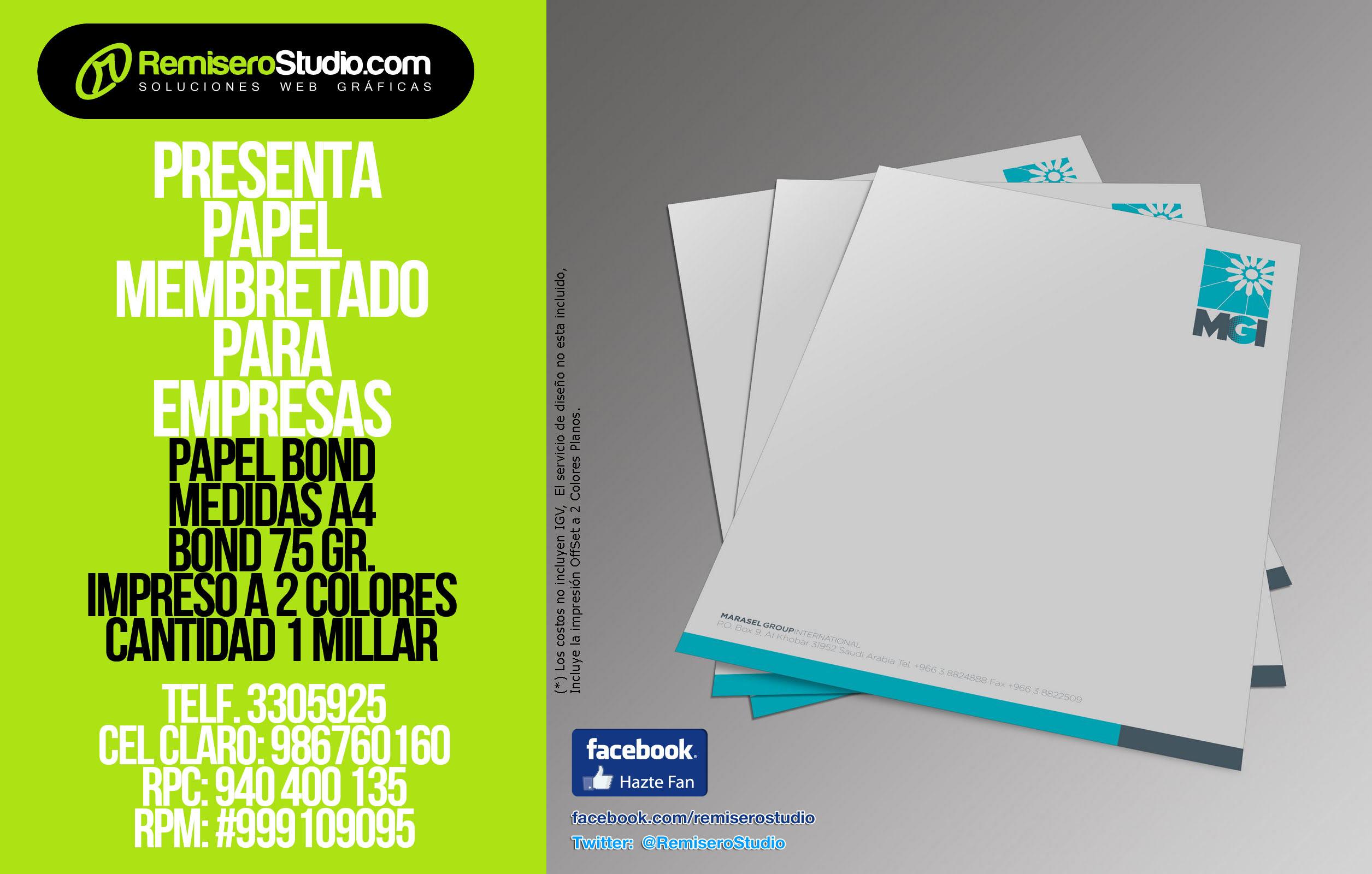 (1000) Millar de Papel Membretado A4 Bond 75 gr. 2 Colores