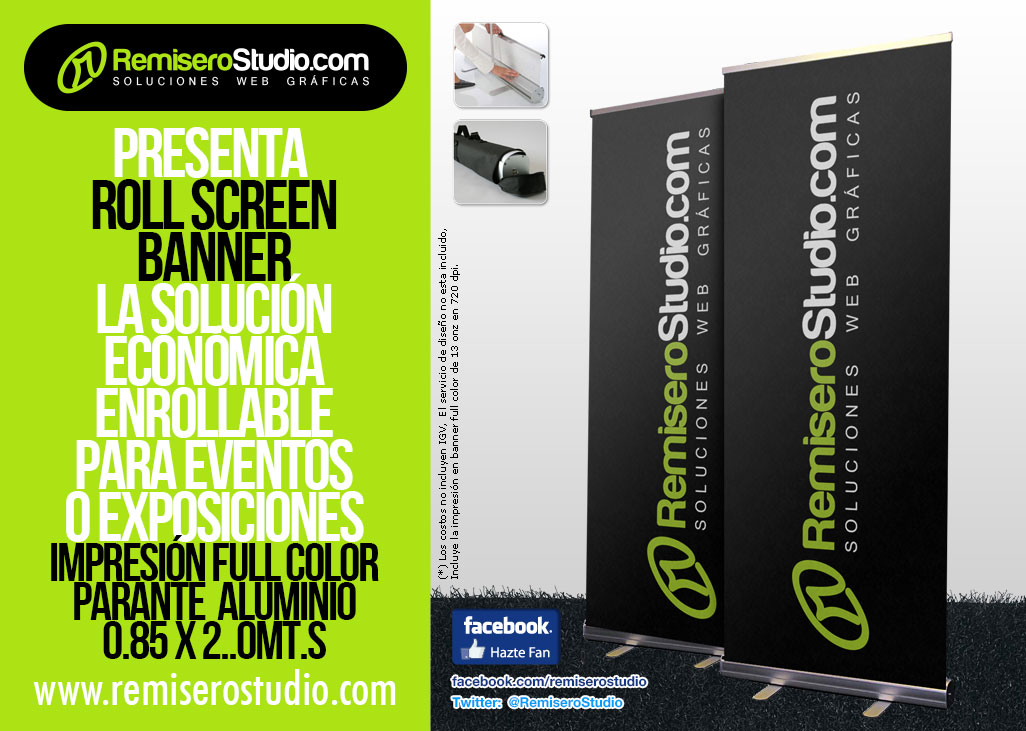 Roll Screen 0.85 x 2.0 metros + Banner Full Color