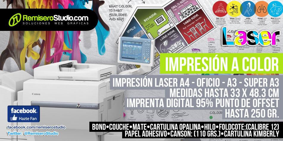 Impresión Laser a Color Perú A4, Oficio, A3, Super A3, 33 x 48.3 cm hasta 250gr Imprenta Digital 95% Offset