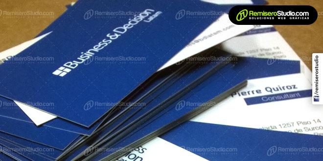 Tarjetas personales impresas en Couche para Business & Decision Latam