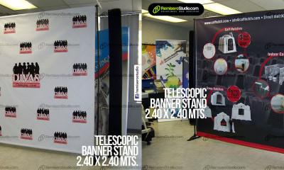 Rack banner - Parante Telescópico - 2.40 x 2.40 metros - Backing para eventos