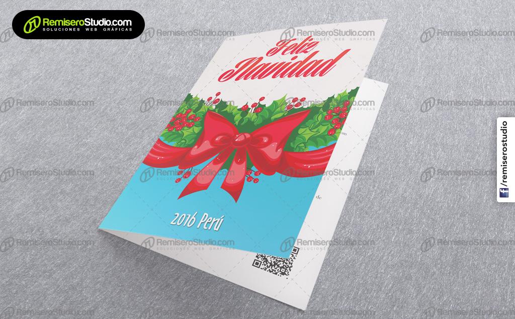 Lazo rojo navideño con guirnaldas verdes – Nueva tarjeta de navidad corporativa Perú 2016