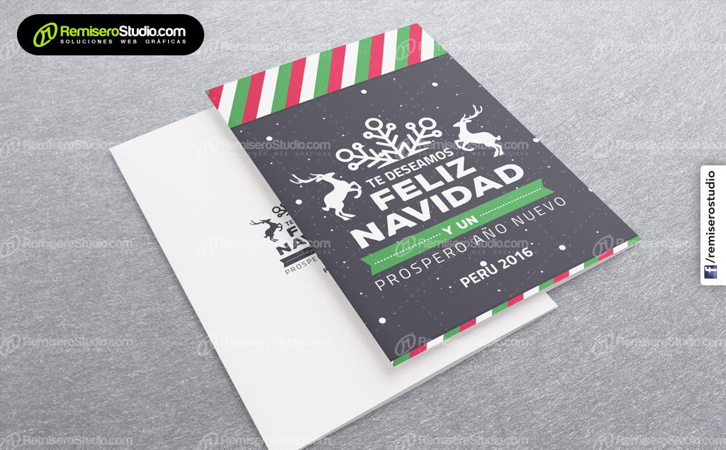 Te deseamos feliz navidad con renos - Tarjetas navideñas empresariales Perú 2016