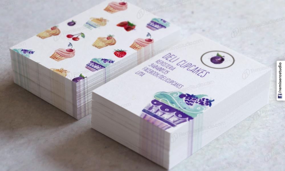 Tarjetas personales Cupcakes Reposteria