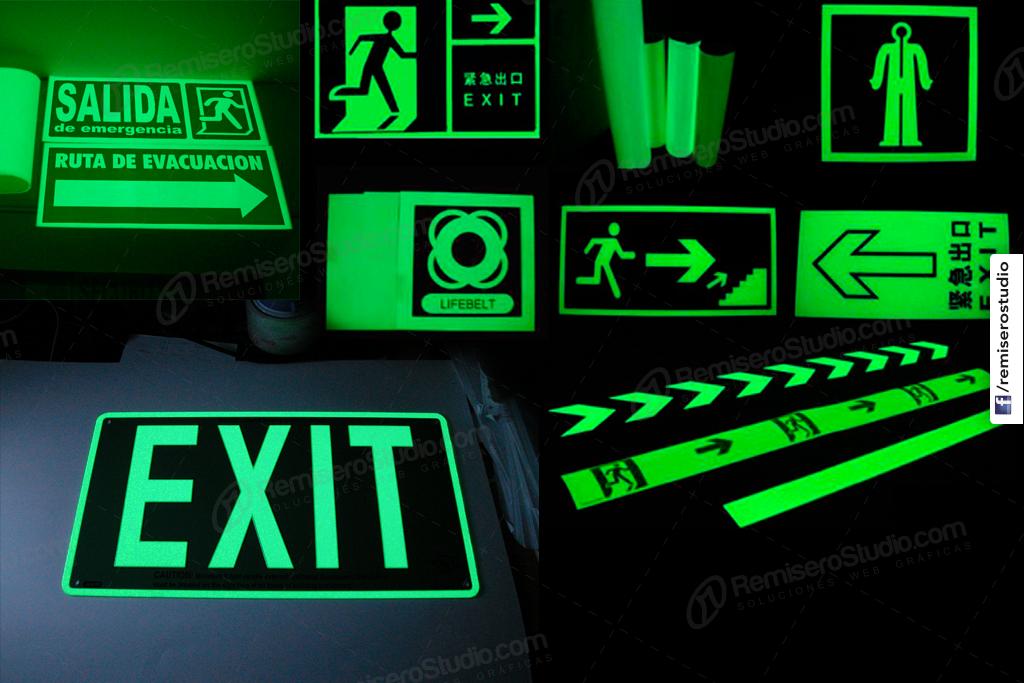 Señalitica en vinilo fotoluminiscente señales de seguridad