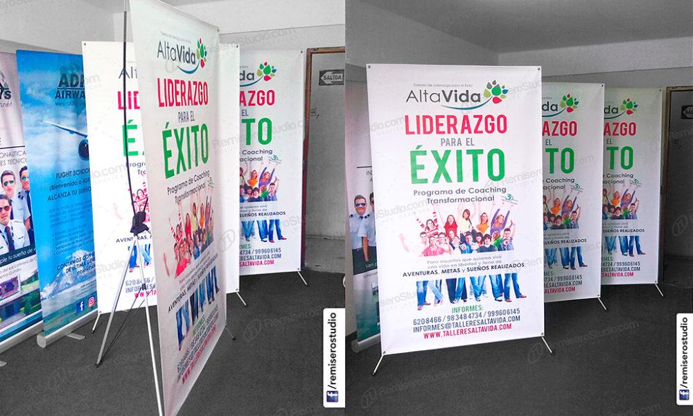 Banner impreso con parante araña X-Banner Stand 120 x 200