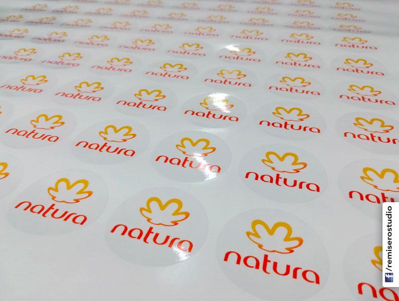Stickers adhesivos circulares en vinil transparente