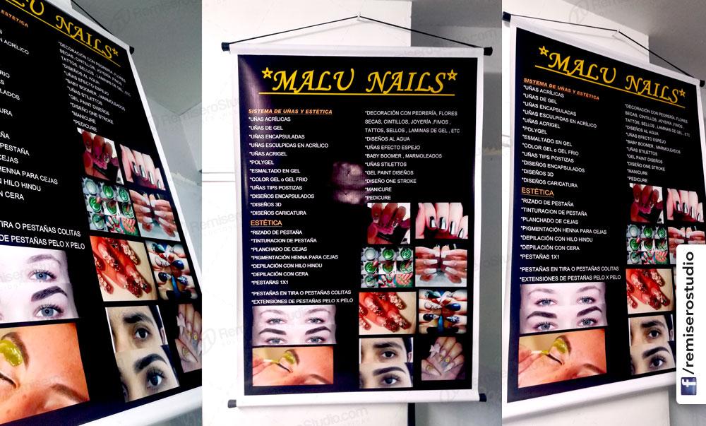 Banner impreso a full color con tubos de pvc y pita para colgar