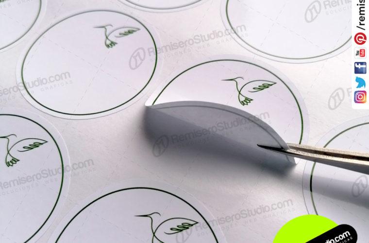 Stickers Adhesivos Circulares con diseño de Colibrí