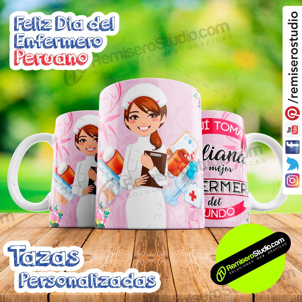 Tazas Personalizadas Feliz Día del Enfermero Peruano